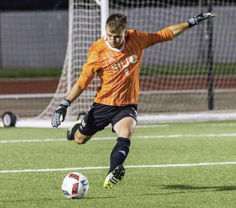 SIUE goalkeeper Kyle Dal Santo made three saves Monday night in the Cougar's 0-0 tie with Valpo at Korte Stadium in Edwarsdville. The shutout was the 12th of Dal Santo's career, tying him for eighth on SIUE's career list. Photo: SIUE Athletics