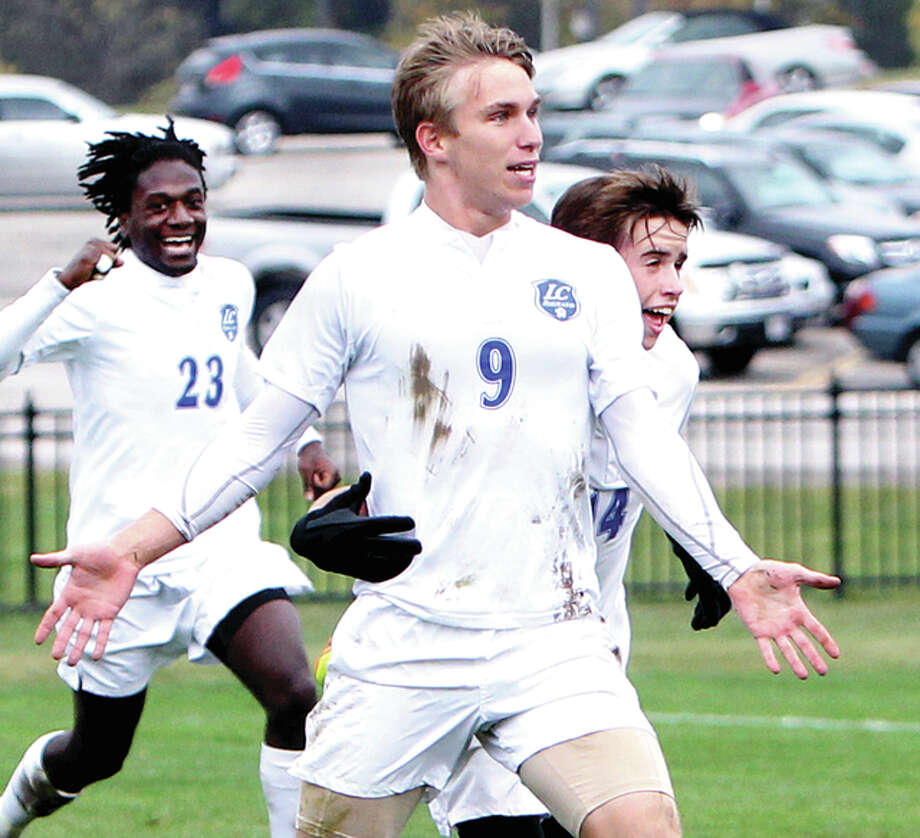 LCCC's Blake Cearns, shown celebrating a goal last season, suffered a knee injury on the team's opening weekend of action. The team is awaiting results of an MRI, which could determine if Cearns will miss the rest of the season. Photo: S. Paige Allen File Photo | For The Telegraph