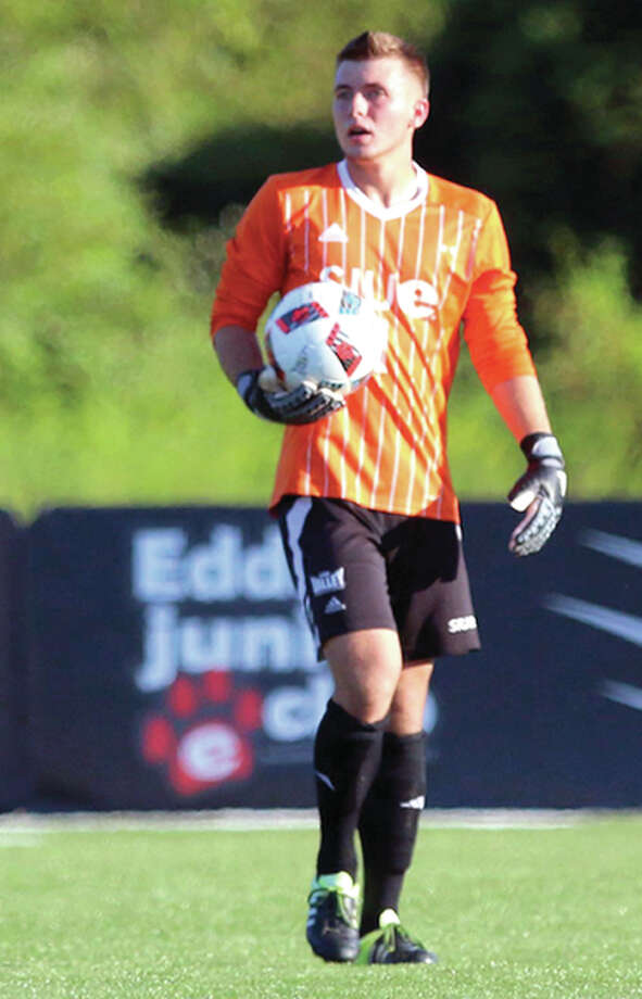 SIUE goalie Kyle Del Santo, a junior from Benet Academy, has registered a pair of shutouts thus far for the Cougars. He is shown in action during a preseason match against Dayton.