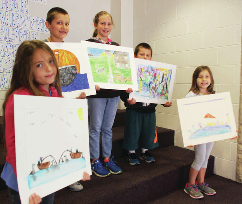 Second-grader Alaina Harmon, left, third-grader Brody Parish, fourth-grader Madalyn Hedger, kindergartener Jax Washburn and first-grader Josephine Brandt were classroom winners in the second annual Grafton Art in the Park students competition at Grafton Elementary School. The winners will be on display during the art festival Sept. 10-11 and a People's Choice winner will be voted on using change. Proceeds will be donated to the school to purchase art supplies.