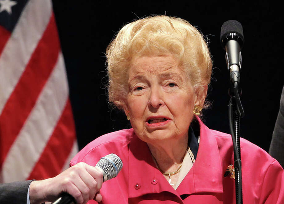 "Political activist Phyllis Schlafly, 92, a St. Louis native and former Alton resident, died Monday, Sept. 5. Schlafly founded the Eagle Forum, which maintains offices in Alton, Illinois, and Washington, D.C., according to Eagle Forum's website. Eagle Forum is a pro-family conservative group focusing heavily on social issues, founded in 1972. The organization has been split this presidential election — Schlafly supported Donald Trump, though many board members disagreed. Schlafly is pictured speaking at a Donald Trump rally in St. Louis on March 11, 2016. Her latest book, ""The Conservative Case for Trump,"" is being published Tuesday, Sept. 6, 2016. Photo: File Photo By Bill Greenblatt/UPI"