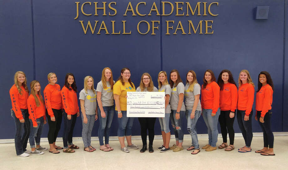 Members of the Jersey Community High School girls' soccer leadership team recently donated money to the school's Key Club. Money raised at a memorial game in the spring is also going toward an anti-bullying campaign at the school.