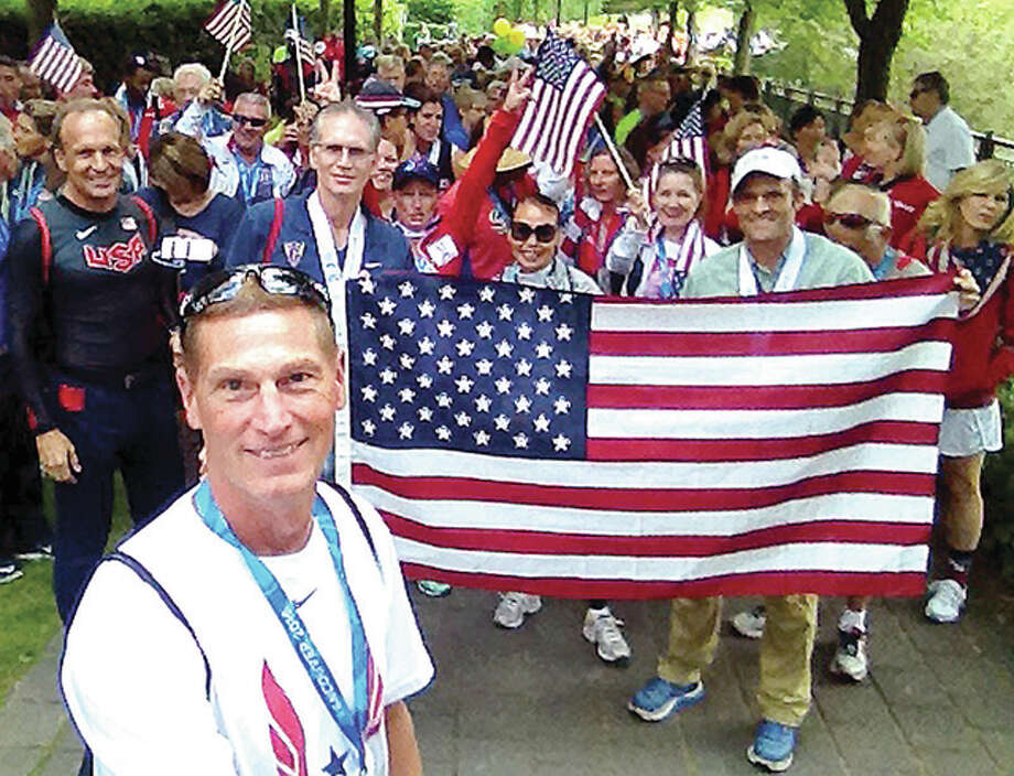 Wood River's Mike Young, foreground, with other members of Team USA at the Americas Master Games last week in Vancouver, British Columbia. Photo: Submitted Photo