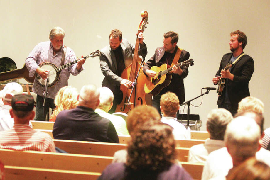 Members of the Shipman-based group The Harmans play in the auditorium at the Lewis and Clark Historic Site interpretive center during the site's annual music festival last year. The group will return to this year's festival for two shows — 11 a.m. and 12 p.m. — Saturday, Sept. 10.