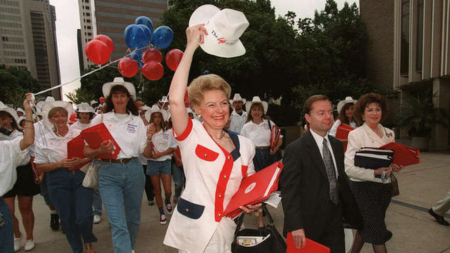 "Proclaiming and rejoicing the ""Phyllis Schlafly Way"" in 1996. Photo: Photo Courtesy Of Eagle Forum