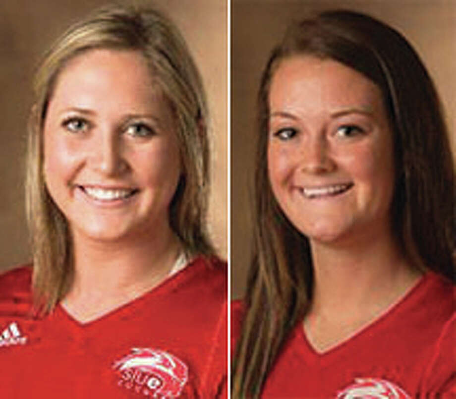 SIUE juniors Taylor Joens (left) and Emily Harrison combined for 31 kills and a .491 hitting percentage in a win over Bryant on Friday.