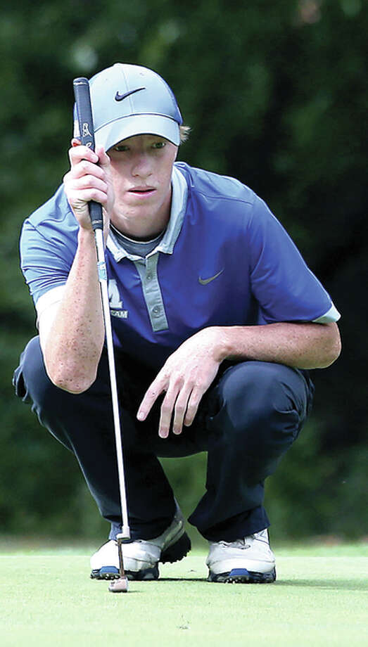 Marquette's Michael Holtz, shown in a tourney last season, finished fourth at the Mattoon Invite Saturday and helped lead his team to third place in the 35-team tourney. Photo: Telegraph File Photo