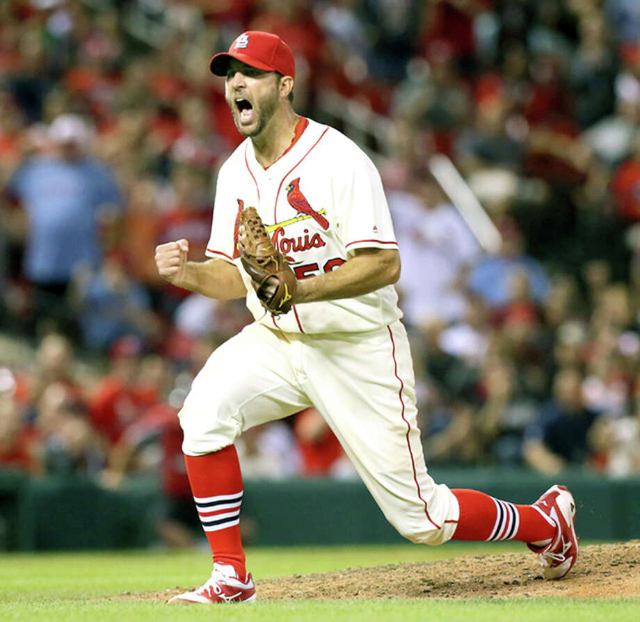 St. Louis Cardinals starting pitcher Adam Wainwright reacts after striking out the Brewers' Hernan Perez with the bases loaded to end the top of the eighth inning Saturday in St. Louis. Photo: AP