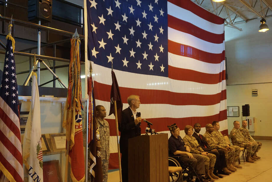 Illinois Gov. Bruce Rauner attended a deployment ceremony Sunday for The 710th Area Support Medical Company at North Riverside Armory. Photo: For The Telegraph