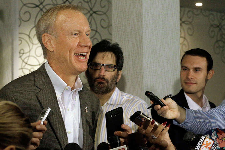Illinois Gov. Bruce Rauner speaks to reporters Monday, Sept. 19, 2016, in Springfield, Ill. Rauner eliminated a state Transportation Department position that he says was central to a patronage hiring scandal stretching back more than a decade. Photo: (AP Photo/Seth Perlman)