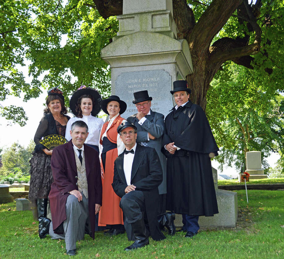 Vintage Voices re-enactors present a glimpse of past residents in this year's Vintage Voices' 15th anniversary programming, including from front left, Michael Cox and Lief Anderson, and from back left, Lee Cox, Kayla Mack, Loretta Williams, John Meehan, and Alton Mayor Brant Walker. Vicki Bennington/For The Telegraph
