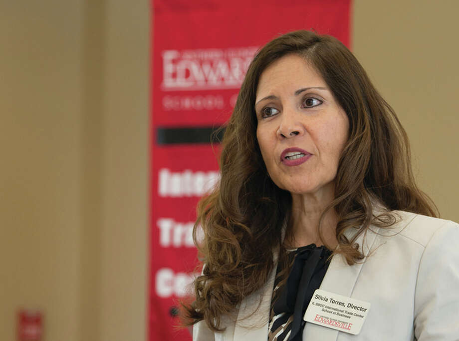 Silvia Torres-Bowman, Director of Illinois SBDC International Trade Center, is a leading voice in the Metro East on the topic of women in business and trade. Photo: Howard Ash, SIUE Marketing And Communications