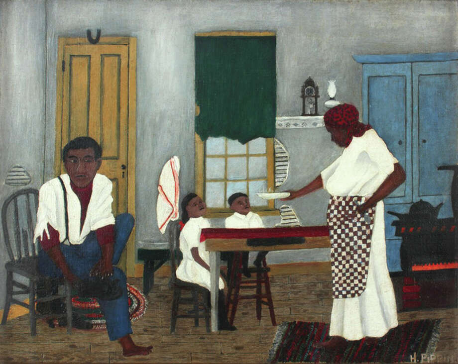 "Horace Pippin, American, 1888-1946; ""Sunday Morning Breakfast,"" 1943; oil on fabric; 16 x 20 inches; Saint Louis Art Museum, Museum Funds; Friends Fund; Bequest of Marie Setz Hertslet, Museum Purchase, Eliza McMillan Trust, and Gift of Mrs. Carll Tucker, by exchange 164:2015. Photo: Image Courtesy Alexandre Gallery, New York 