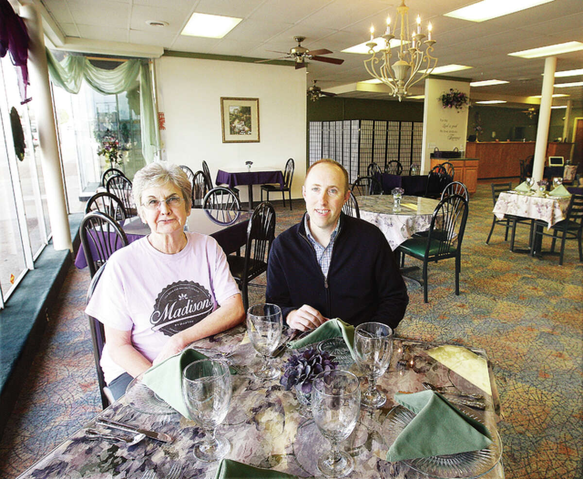 Manager Martha Warren, left, and owner Chris Drake, plan to open the Madison's Tea Room and Banquet Center on Tuesday. The Wood River business is located at 144 Ferguson Ave.