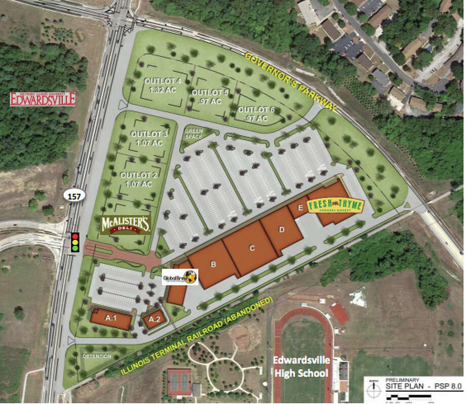 The Edwardsville Town Centre business district would include be anchored by a grocery store and feature restaurants and shops.