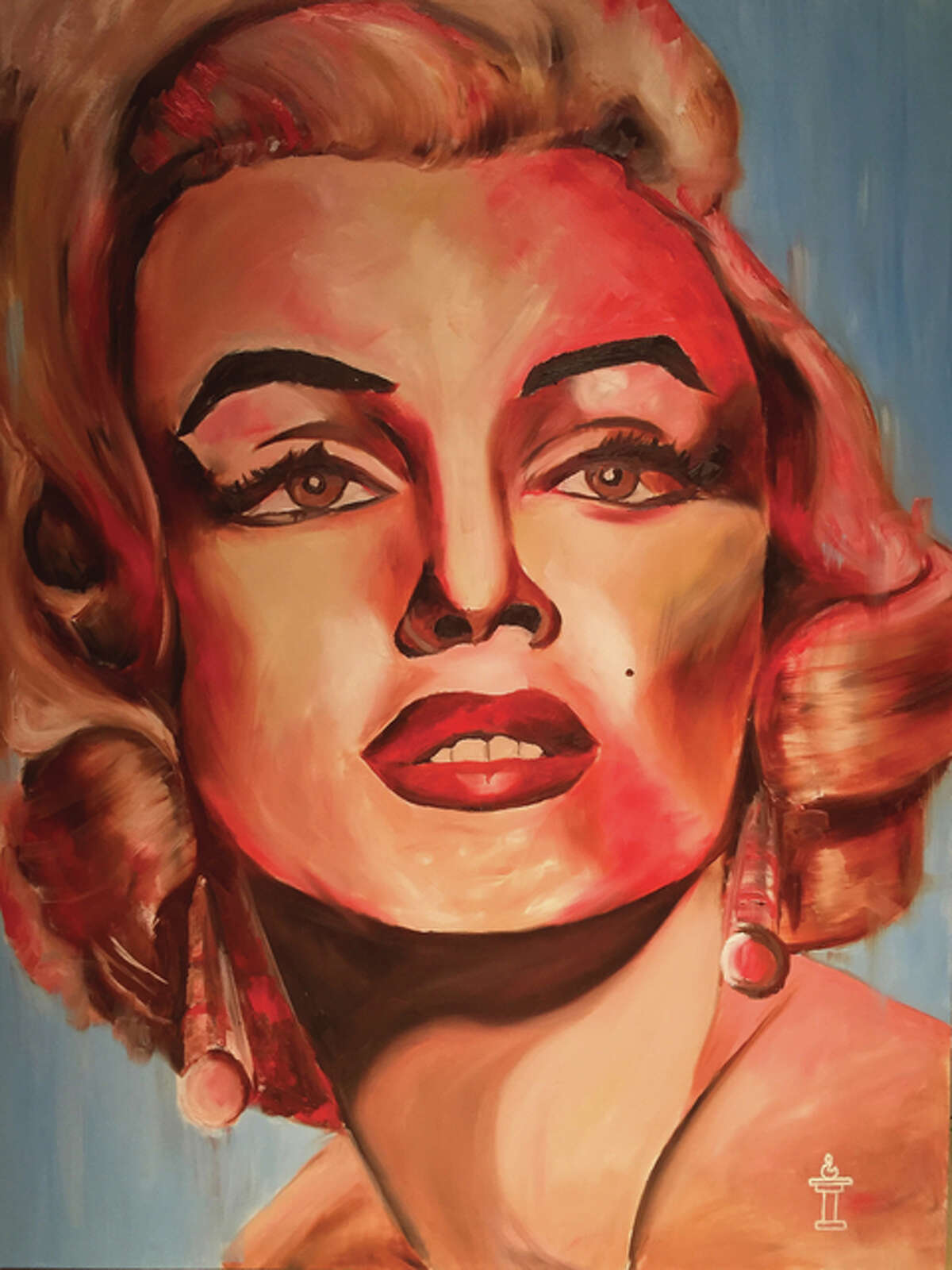 Artist Jake Bishop's interpretations of Hollywood icon Marilyn Monroe and the late actor Robin Williams, respectively.