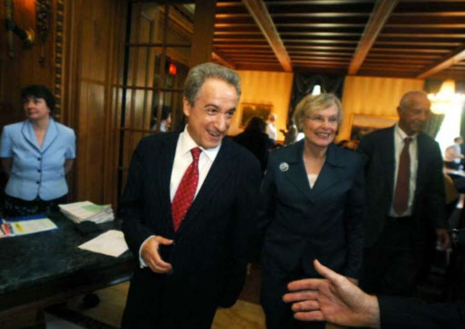 David  Milton  Steiner is congratulated after being elected as New York State education commissioner and president of the University of the State of New York, at the New York Board of Regents meeting in Buffalo. (AP Photo/Doug Benz)