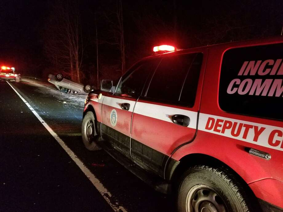 Brookfield and Danbury fire departments responded to a two-car accident that resulted in roll overs for both vehicles on Saturday, Feb. 10. Six people were injured in the crash. Photo: Danbury Fire Department