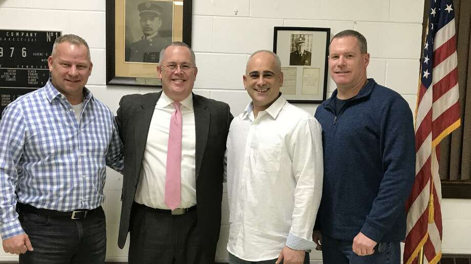 Derby Mayor Richard Dziekan, Seymour First Selectman Kurt Miller, Derby Republican Town Chairman Sam Pollastro Jr. and Derby Board of Aldermen President Charles Sampson pose after the Derby Republican Town Committee endorsed Miller in his run for the Republican State Comptroller nomination Photo: / Contributed Photo