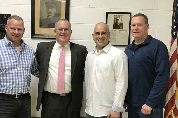 Derby Mayor Richard Dziekan, Seymour First Selectman Kurt Miller, Derby Republican Town Chairman Sam Pollastro Jr. and Derby Board of Aldermen President Charles Sampson pose after the Derby Republican Town Committee endorsed Miller in his run for the Republican State Comptroller nomination