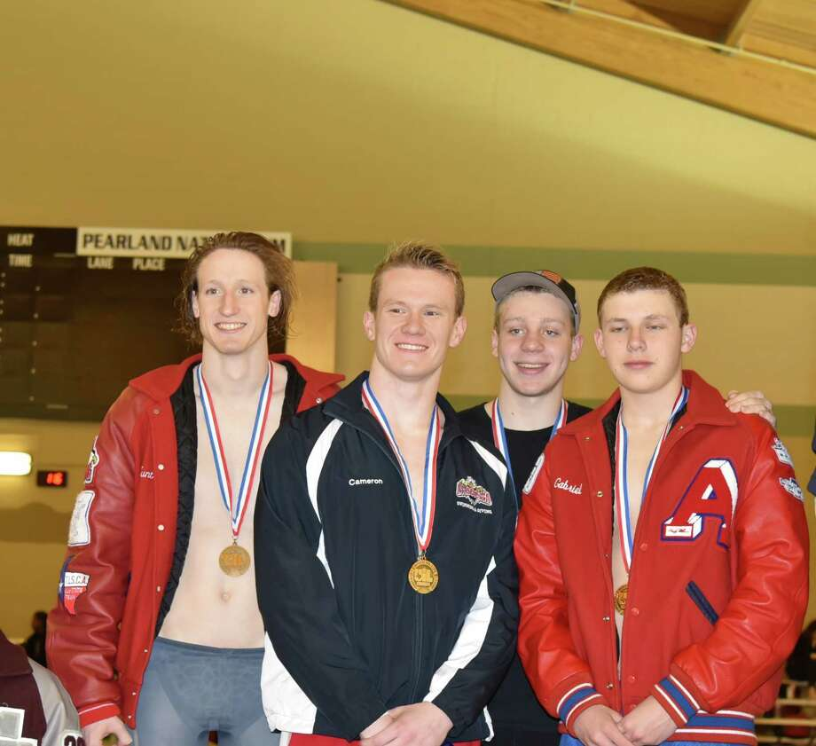 The Atascocita High School swimming boys 200 yard freestyle relay team of Hunter Trambaugh, Cameron Kennison, Connor Ozenne, and Gabriel Weikel are heading to the UIL state swim meet in Austin on Feb. 16-17 Photo: Melody Trambaugh