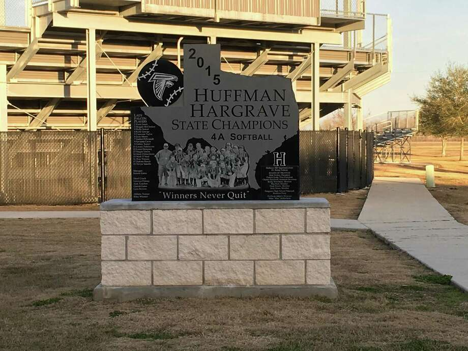A monument outside of the Hargrave field to commemorate the 2015 state championship. Photo: Elliott Lapin