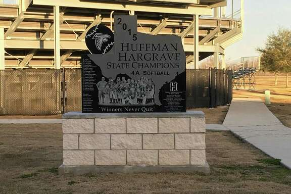 A monument outside of the Hargrave field to commemorate the 2015 state championship.