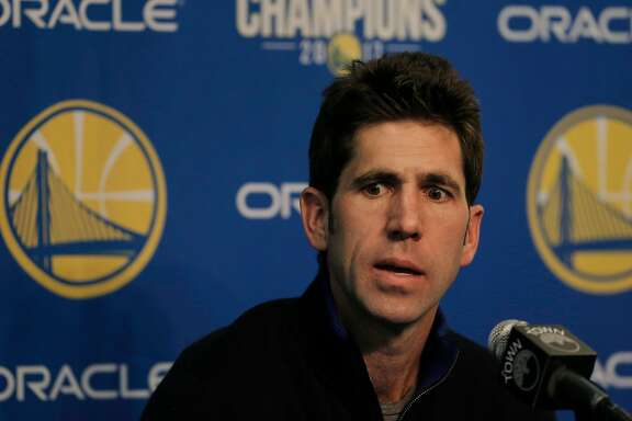 Warriors general manager Bob Myers speaks in the interview room before the Golden State Warriors played the Dallas Mavericks at Oracle Arena in Oakland, Calif., on Thursday, February 8, 2018. FInal Score:  Golden State Warriors 121 vs. Dallas Mavericks 103.