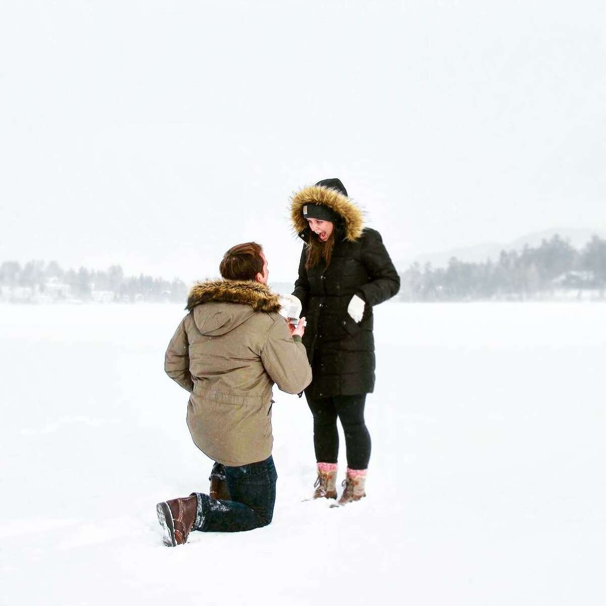 2. I'm recently engaged. I went down on one knee on frozen Mirror Lake in Lake Placid. My smart and beautiful girlfriend Aimée said yes.