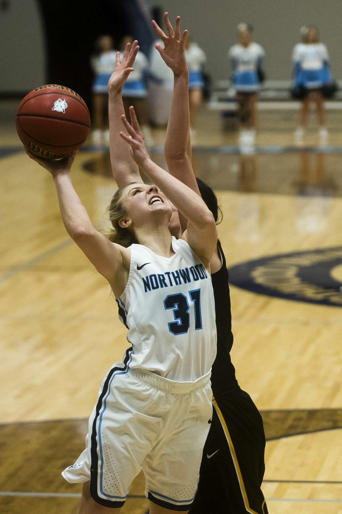 Northwood's Maddy Seeley takes a shot during the Timberwolves' game against Michigan Tech on Saturday, Feb. 10, 2018 at Northwood University. (Katy Kildee/kkildee@mdn.net)