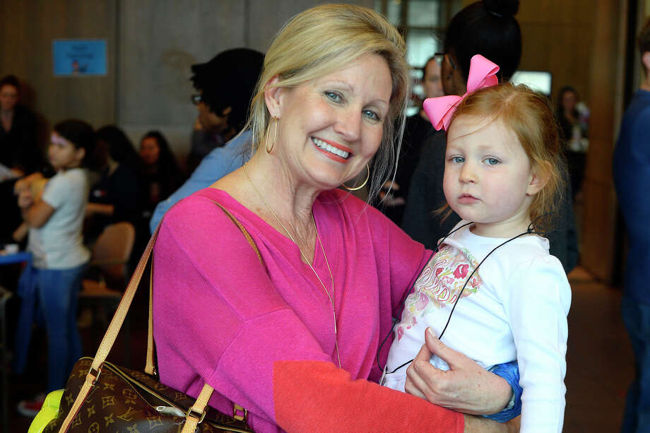 Cathy Hawa with granddaughter Helen Hawa during the Art Museum of Southeast Texas free family art day on Saturday.  Photo taken Saturday 2/10/18 Ryan Pelham/The Enterprise Photo: Ryan Pelham / ©2017 The Beaumont Enterprise/Ryan Pelham