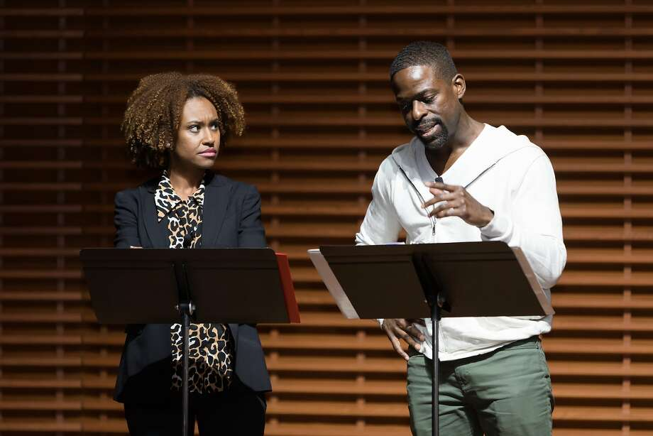 Sterling K. Brown visited his alma mater Stanford University, with his wife, Ryan Michelle Bathe, also a Stanford grad, on Friday, Feb. 9. Photo: Dana Underwood/Stanford University