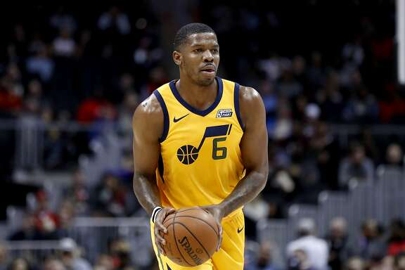 Utah Jazz's Joe Johnson plays in the second quarter of an NBA basketball game against the Atlanta Hawks in Atlanta, Monday, Jan. 22, 2018. (AP Photo/David Goldman)
