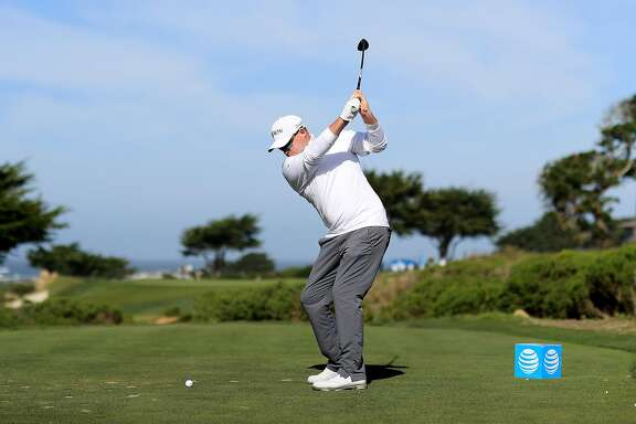 PEBBLE BEACH, CA - FEBRUARY 10:  Ted Potter Jr. plays his shot from the seventh tee during Round Three of the AT&T Pebble Beach Pro-Am at Monterey Peninsula Country Club on February 10, 2018 in Pebble Beach, California. (Photo by Mike Ehrmann/Getty Images)
