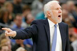 San Antonio Spurs head coach Gregg Popovich calls a play during first half action Detroit Pistons Monday Dec. 4, 2017 at the AT&T Center.