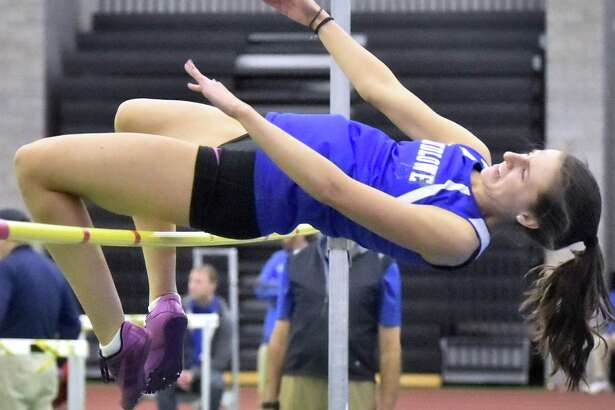 Ludlowe's Tes Stapelton takes third in the high jump at the Class LL indoor track and field championship at the Floyd Little Athletic Center in New Haven.