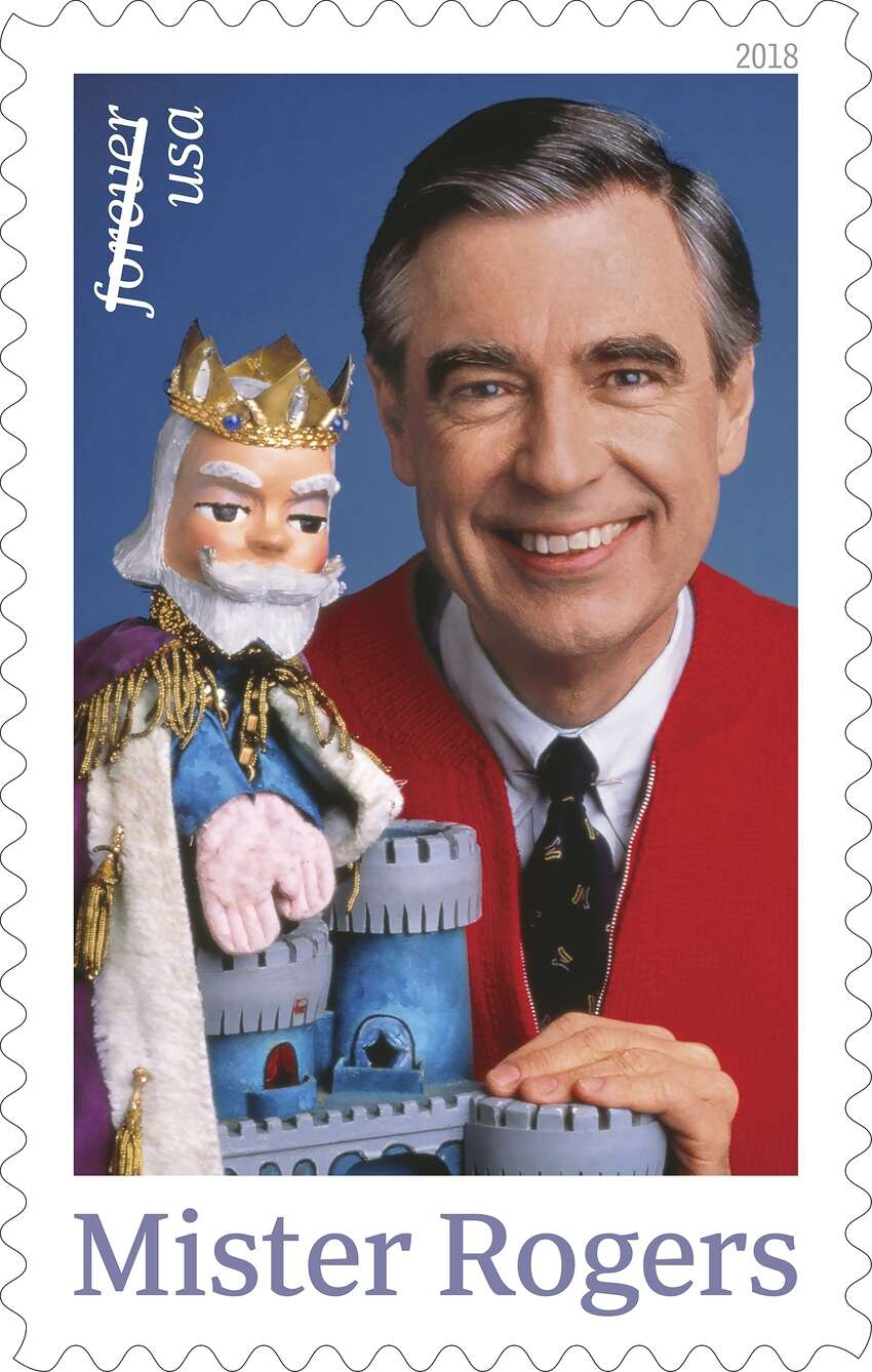 2018 This image released by the United States Postal Service in 2018 shows a postage stamp featuring Fred Rogers from the PBS children's television series