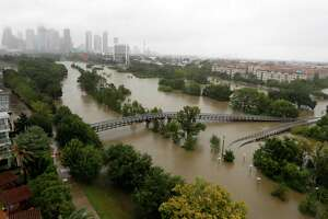 Overhead view of the floods from Buffalo Bayou on Memorial Drive and Allen Parkway, as heavy rains continued falling from Hurricane Harvey,  Monday, Aug. 28, 2017, in Houston.  ( Karen Warren / Houston Chronicle )