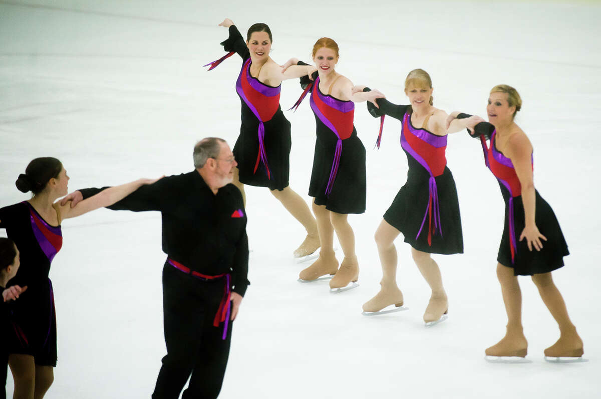 Turning Points, a team from the Midland Figure Skating Club, performs during the Tri-State Synchronized Skating Championships on Saturday, Feb. 10, 2018 at Midland Civic Arena. (Katy Kildee/kkildee@mdn.net)