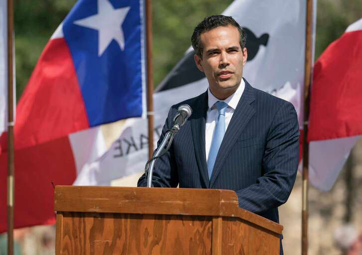 Texas Land Commissioner George P. Bush speaks during the conclusion of Cannon Fest, Monday, Oct. 2, 2017, at the Alamo in San Antonio. (Darren Abate/For the Express-News)