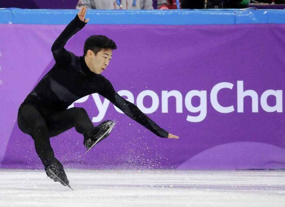 United States' Nathan Chen falls in the men's single short program team event at the 2018 Winter Olympics in Gangneung, South Korea, Friday, Feb. 9, 2018. (AP Photo/Bernat Armangue) Photo: Bernat Armangue / Copyright 2018 The Associated Press. All rights reserved
