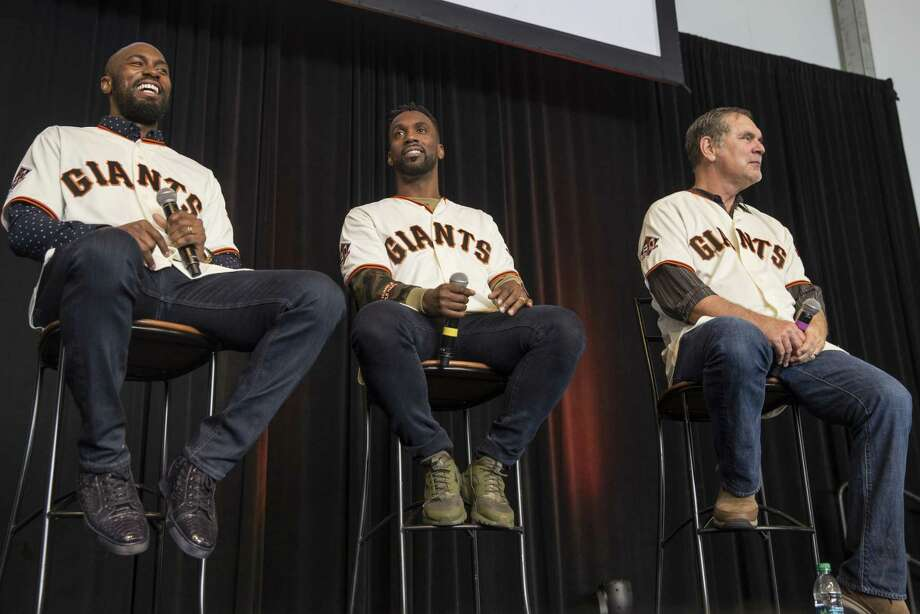 Fans got to ask questions of outfielders Austin Jackson, left, and Andrew McCutchen, center, and manager Bruce Bochy. Photo: Jessica Christian / The Chronicle / ONLINE_YES