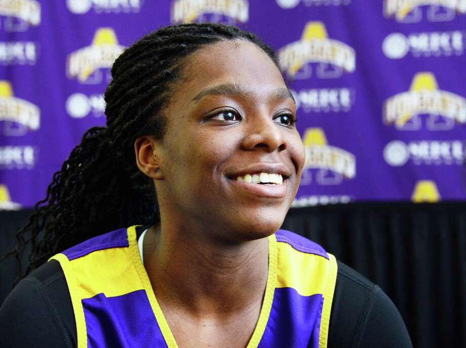 UAlbany women's basketball player Jessica Fequiere during an interview Wednesday Jan. 31, 2018 in Albany, NY.  (John Carl D'Annibale/Times Union) Photo: John Carl D'Annibale / 20042787A