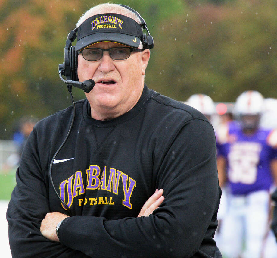 UAlbany football coach Greg Gattuso, shown last season, had stern words for his offense after Thursday's practice. (John Carl D'Annibale/Times Union)