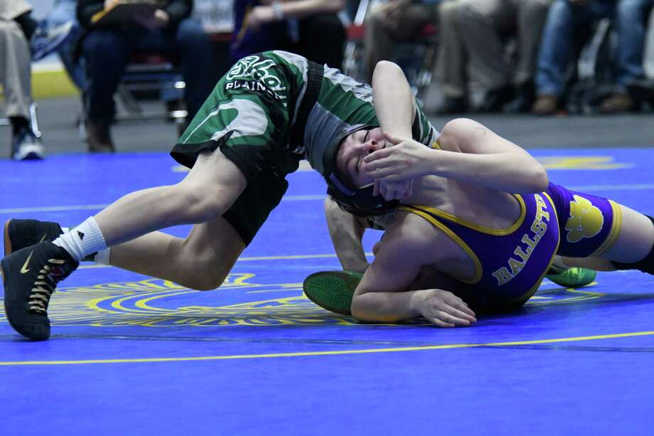 Shen's Stevo Poulin wrestles with Ballston Spa's Nick Palso for the 99-lb weight class final during the Section II Championships at Cool Insuring Arena in Glens Falls, N.Y. on Saturday, Feb. 10, 2018. (Jenn March/Special to the Times Union) Photo: Jenn March / © Jenn March 2017-18 © Albany Times Union