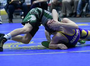 Shen's Stevo Poulin wrestles with Ballston Spa's Nick Palso for the 99-lb weight class final during the Section II Championships at Cool Insuring Arena in Glens Falls, N.Y. on Saturday, Feb. 10, 2018. (Jenn March/Special to the Times Union)