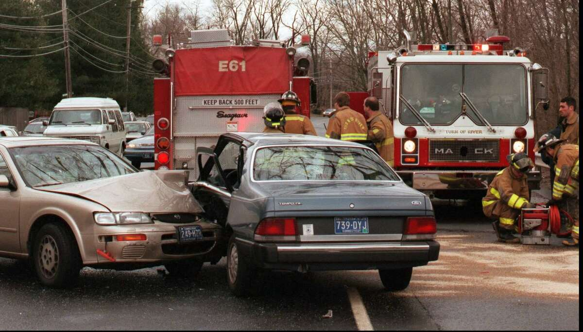 A two-car accident at Long Ridge Road near Wishing Well Lane sent one woman to Stamford Hospital on Feb. 12, 1998. Turn of River Fire Department used the Jaws of Life to extricate the victim.