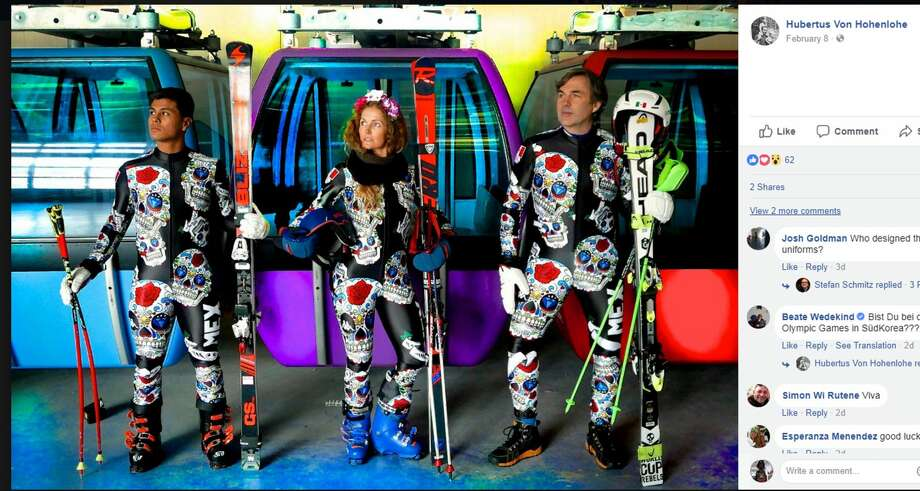 Mexico's alpine ski team will represent with Día de Muertos-themed uniforms. Photo: Facebook Screengrab