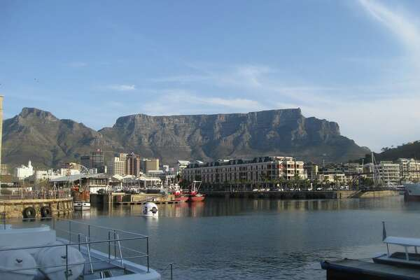 Looking up to Table Mountain from the Cape Town harbour in 2010