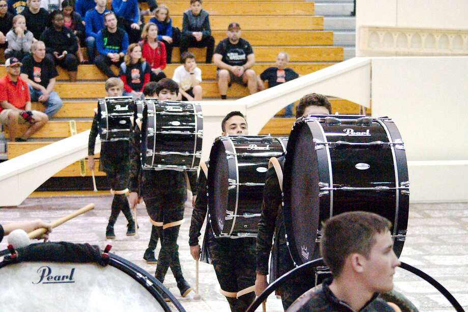 Members of  the Clear Brook Indoor Drumline perform during the TCGC indoor percussion competition at Pasadena Memorial High School Saturday, Feb 10. Photo: Kirk Sides/Houston Chronicle